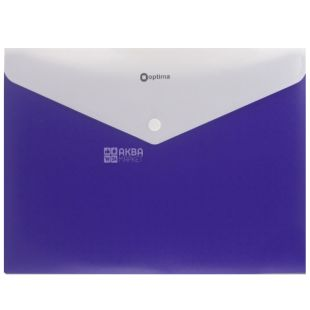 Папка-конверт А4 синяя На кнопке 1 шт., ТМ Optima
