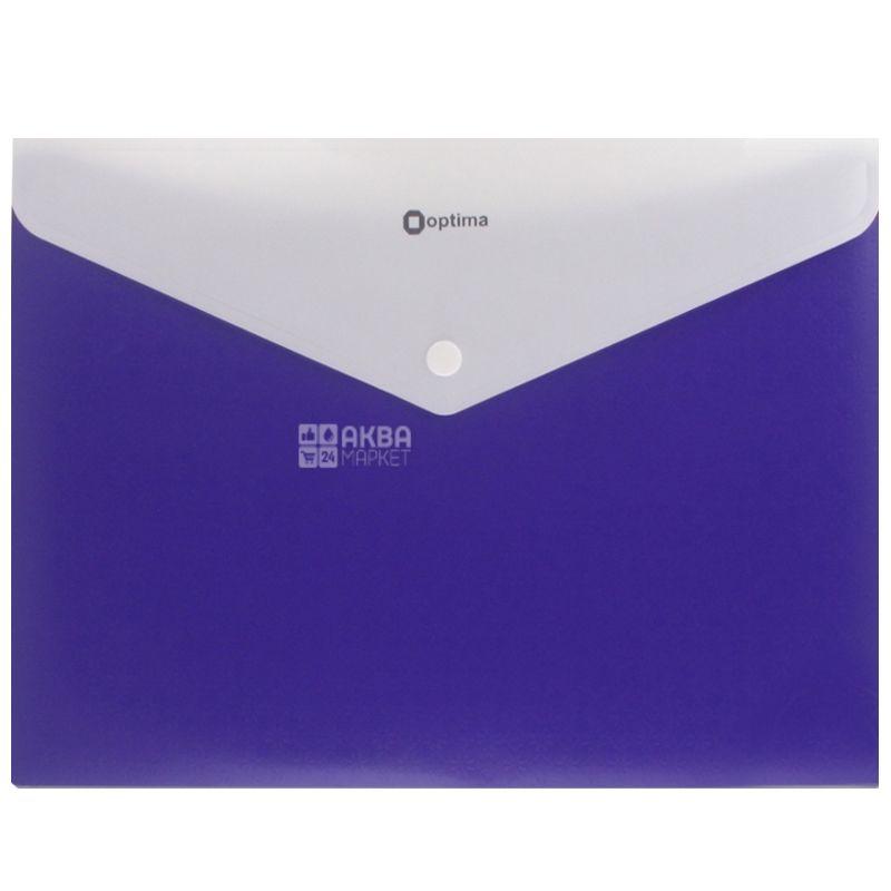 Folder A4 envelope blue On button 1 pc., TM Optima