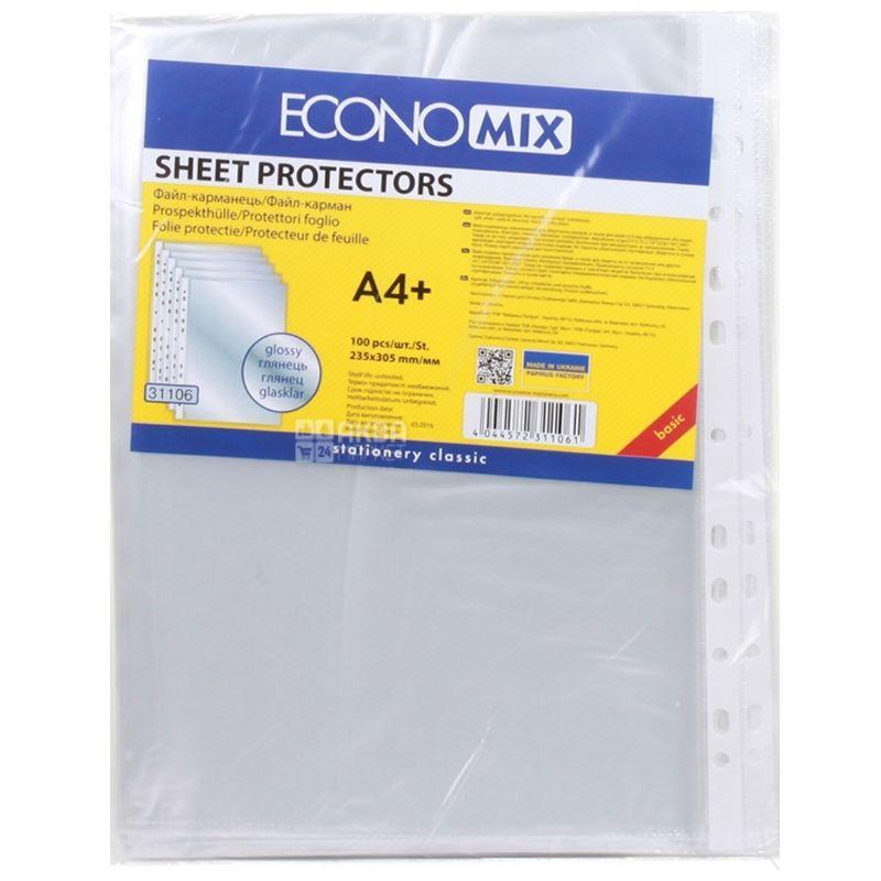 Economix Файлы А4+, Прозрачные,100 штук