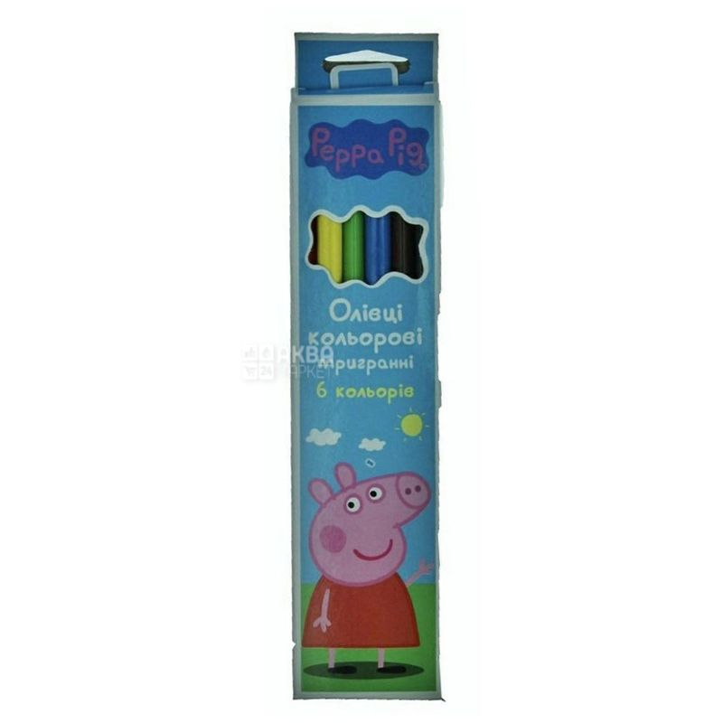 Peppa Pig, Карандаши цветные, тригранные, 6 шт., картон