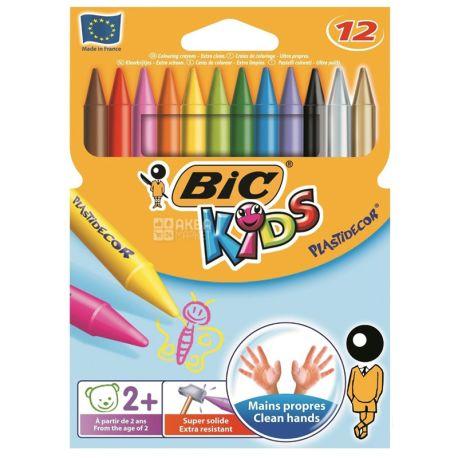 BIC, Мел цветной из воска, 12 шт., картон
