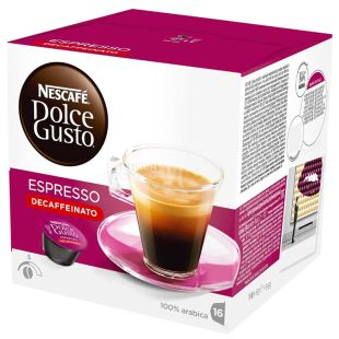 Nescafe Dolce Gusto Espresso Decaffeinato, 16 шт., Кофе Нескафе Эспрессо Декафинато, темной обжарки, в капсулах