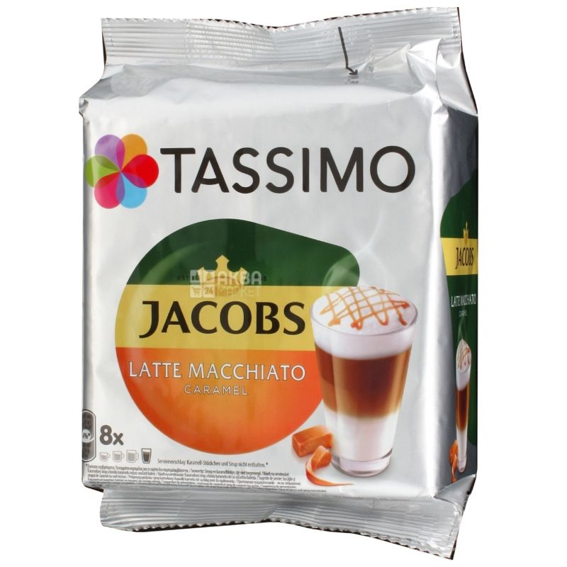 Jacobs Tassimo Latte Macchiato Caramel, кофе в капсулах, 268 г, картонная коробка