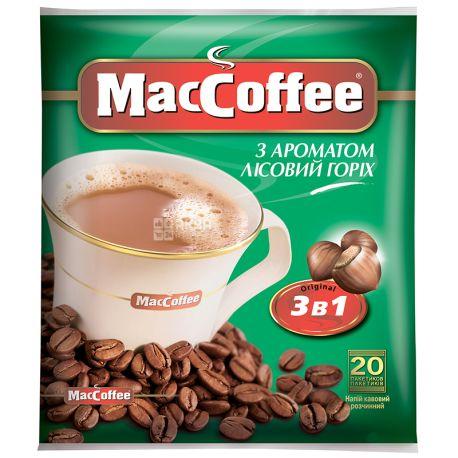 MacCoffee 3 в 1, 18 г, Кофе МаКофе, Лесной Орех, растворимый, в стиках