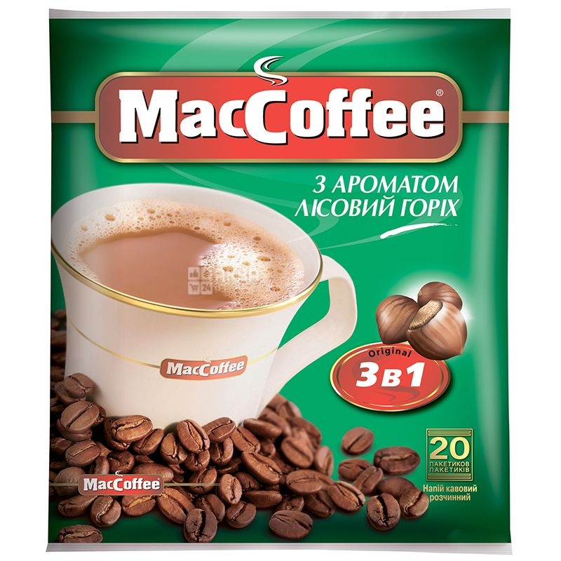 Maccoffee 3в1 Лесной орех, растворимый кофе, 18 г, м/у