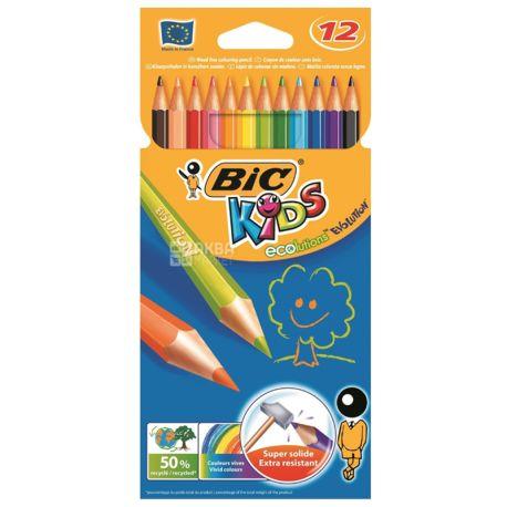 Bic Kids Evolution, Карандаши цветные, упаковка 12 шт., картон