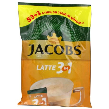 Jacobs 3 в 1 Latte, 56 шт. х 13 г, Кофе Якобс Латте, растворимый в стиках