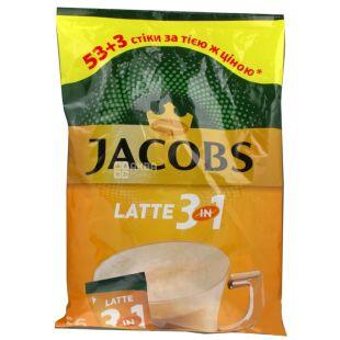 Jacobs 3 в 1 Latte, 56 шт. х 13 г, Кава Якобс Латте, розчинний в стіках