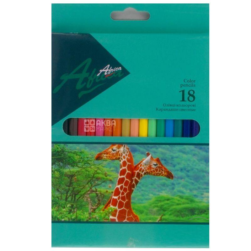 Economix Africa, Карандаши цветные, Пластиковые, упаковка 18 шт., картон