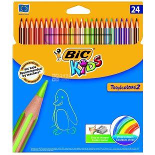 Bic Kids Tropicolors, Олівці кольорові, упаковка 24 шт., Картон