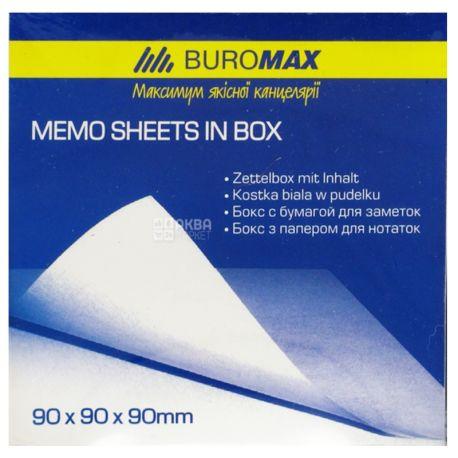 Buromax Бокс пластиковый с белой бумагой для заметок, черный, 90х90х90 мм, 1000 листов