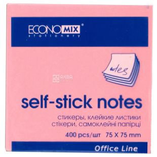 Economix Notebook paper with sticky edge, 75 × 75 mm, 400 sheets, 4 colors