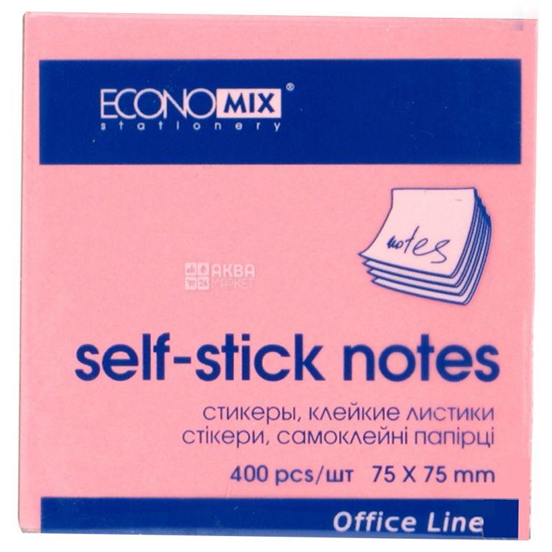 Economix Бумага для заметок с липким краем , 75×75 мм, 400 листов, 4 цвета