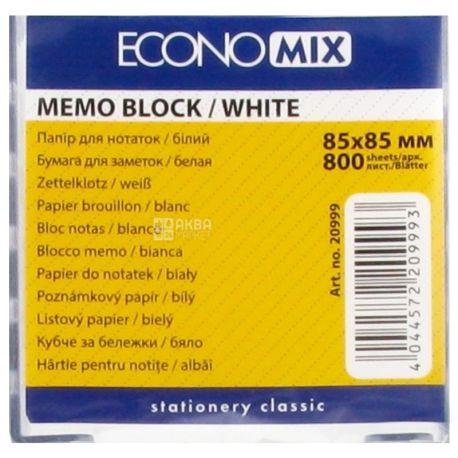 Economix Бокс пластиковый с белой бумагой для заметок, прозрачный, 85х85 мм, 800листов