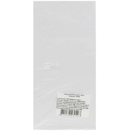 Укрпапир Конверт, формат DL, белый, клапан СКЛ, 75 г/м², 100 шт, бумажный пакет
