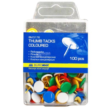 Buromax кнопки цветные, 100 шт, пластиковый контейнер