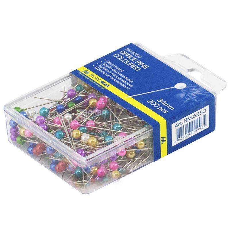 Buromax Булавки канцелярские цветные,  34мм, 200 шт, пластиковый контейнер
