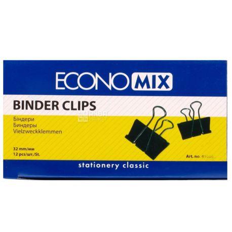 Economix биндеры для бумаги, черные, 32 мм, 12 шт, картонная коробка