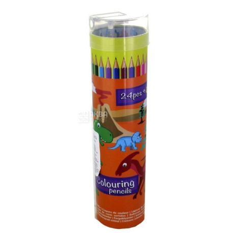 Цветные карандаши, 24шт, пластиковая упаковка
