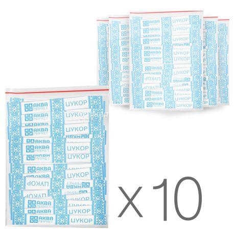 АкваМаркет, 10 упаковок по 200 шт., Цукор-пісок буряковий, в стіках білий