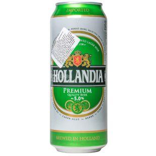 Hollandia, Пиво светлое, 5%, 500 мл, ж/б