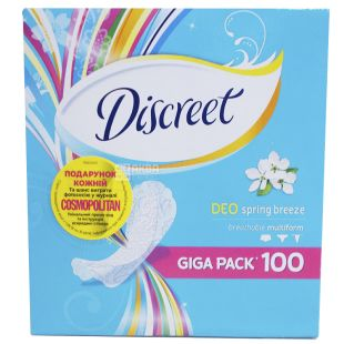 Discreet, 100 шт., прокладки, ежедневные, Deo Spring Breeze Multiform