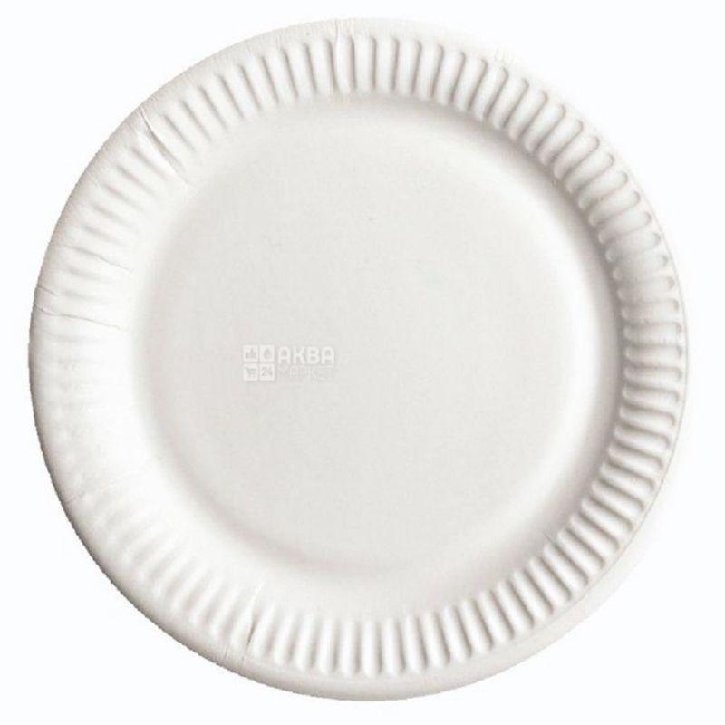 ЕкоПак, Тарілка ламінована біла, 230 мм, 50 шт, Пакет поліетиленовий
