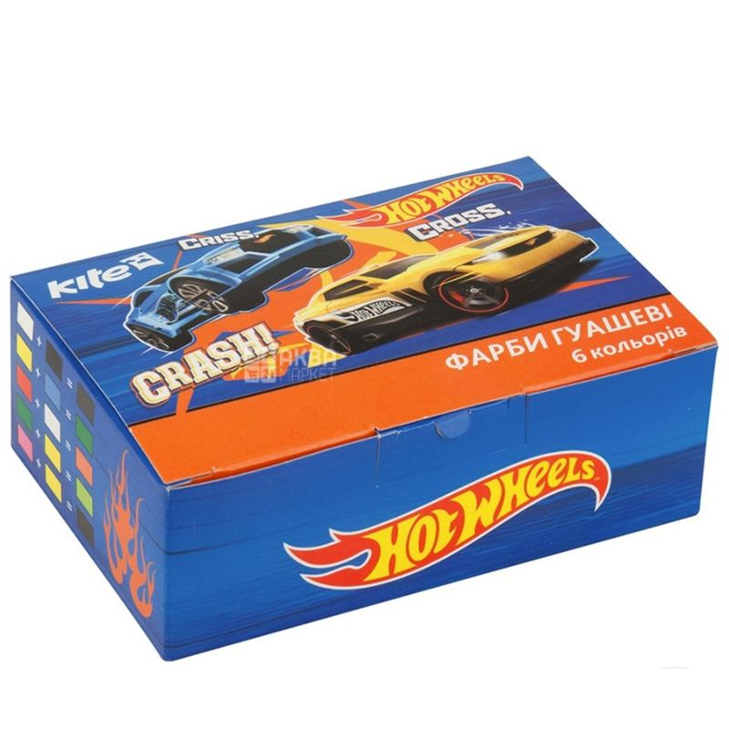 Kite Hot Wheels Краски гуашевые, 6шт, картонная упаковка