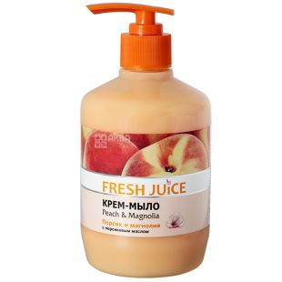 Fresh Juice, 460 ml, cream soap, Peach and Magnolia