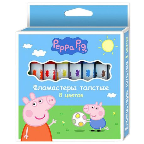 Peppa Pig Фломастеры толстые, 8шт, картонная упаковка