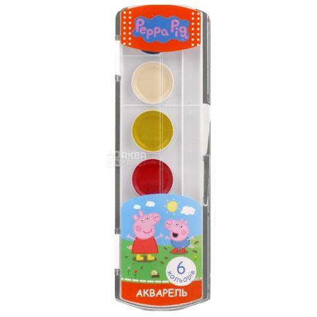 Peppa Pig Краски акварельные медовые, 6 цветов, пластиковая упаковка