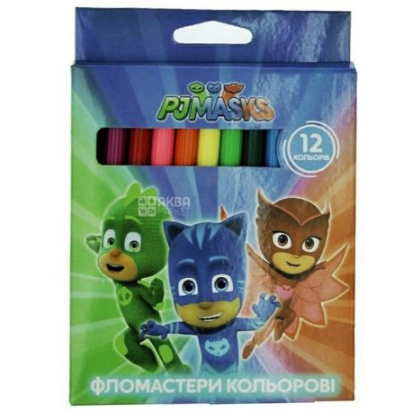 PJ Masks Фломастеры цветные, 12 цветов, картонная упаковка