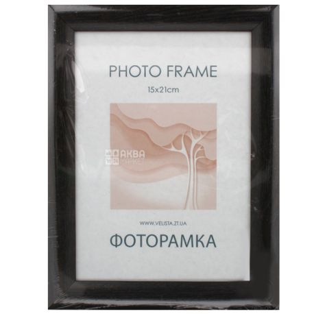 Velista, Фоторамка, Черная, 24 мм, 15 х 21 см, Пластик