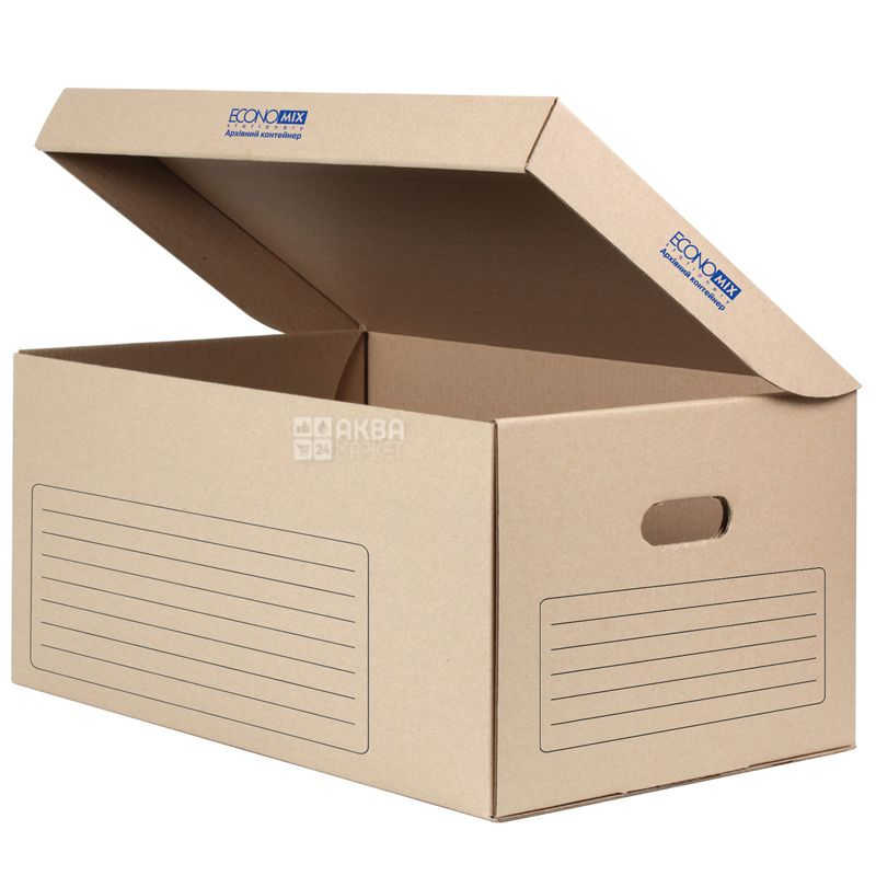 Economix, Контейнер архивный коричневый, 558 х 378 х 264 мм, картон