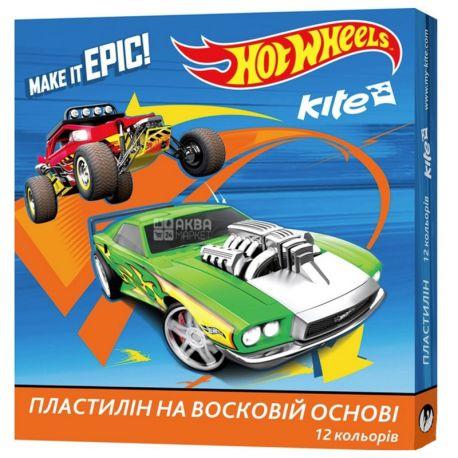 Kite Hot Wheels Пластилин восковый, 12 цветов, 240г, картонная упаковка