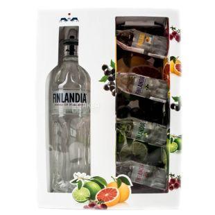 Finlandia, Водка, 40%, 0,5 л + 4*50 мл, 4 фруктовых вкуса