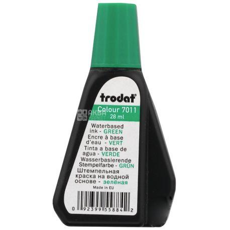 Тrodat 7011, Штемпельная краска, зеленая, универсальная, 28 мл, ПЭТ