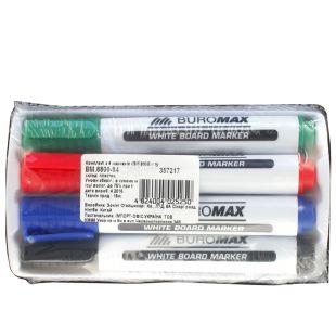 Buromax, Set, 4 markers, Sponge dry-wipe, m / s