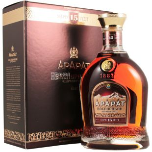 Ararat Festive cognac 15 years old, 0.7l, glass bottle, iron box