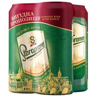 Staropramen Пиво Светлое, 0,5 л, Мультипак, 4 штуки