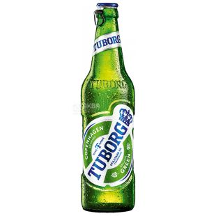 Tuborg Green Beer, Light filtered, 0.33 L, Glass bottle