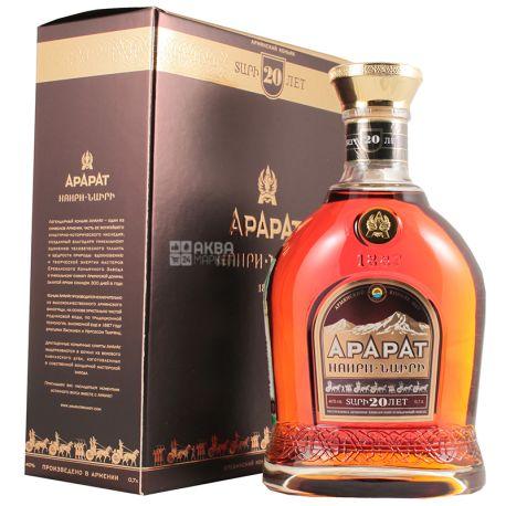 Ararat Наири коньяк 20лет выдержки, 0,7 л, стеклянная бутылка, подарочная коробка