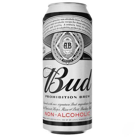 Bud Prohibition Brew, пиво светлое безалкогольное, 0,5 л, ж/б