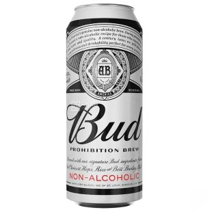Bud Prohibition Brew, пиво светлое безалкогольное, 0,5 л, ж/б