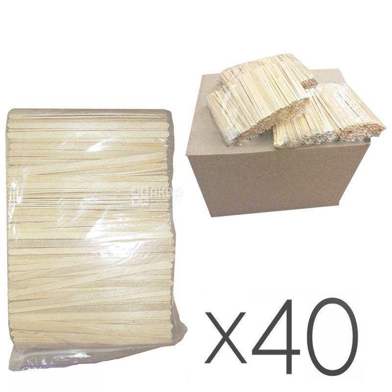 Промтус, Мішалки Дерев'яні, 14 см, 800 шт., Упаковка 40 шт.