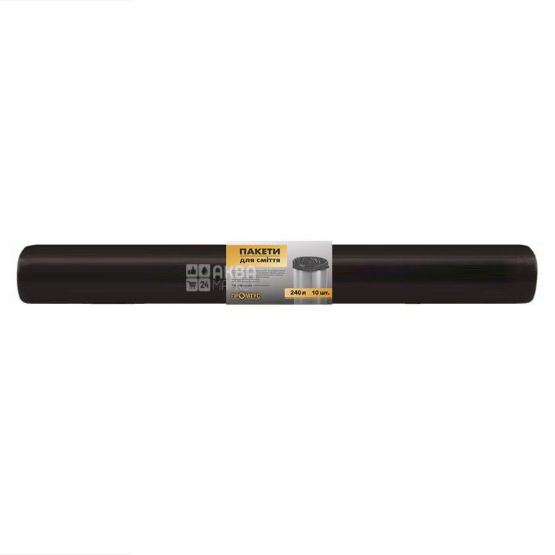 Промтус, 10 шт., 240 л, Пакеты для мусора, без затяжек, прочные, черные