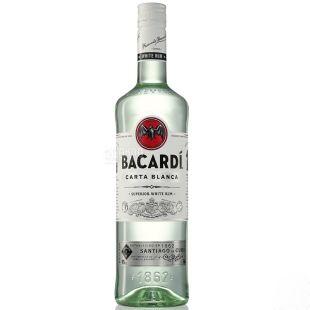 Bacardi Carta Blanca, Ром белый, от 6 месяцев выдержки, 1 л