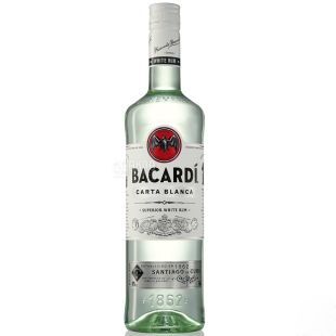 Bacardi Carta Blanca, White rum, from 6 months of aging, 1 l