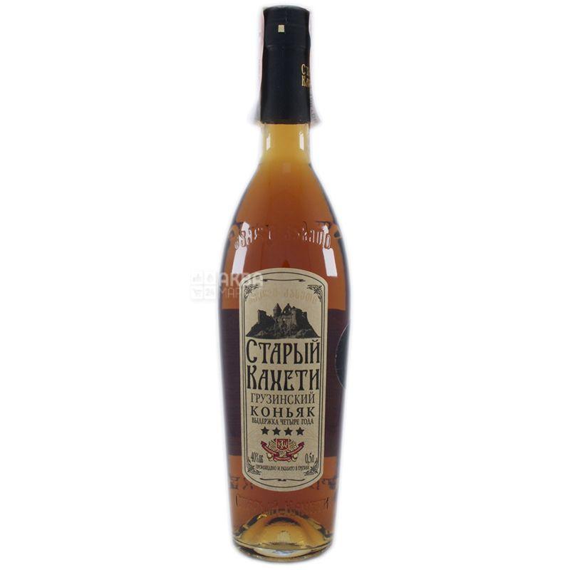 Старый Кахети Коньяк, 4 звезды, 0,5 л, Стеклянная бутылка