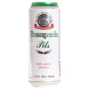 Brauperle Premium Pils, пиво светлое 0,5 л, ж/б